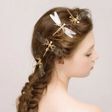 Fashion Golden Tone Bead Dragonfly Hair Clip Accessory Bridal Jewelry Cute
