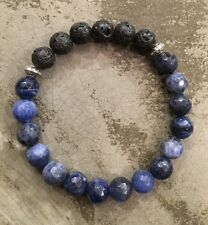 Essential Oil Diffuser Lava Rock Faceted Sodalite Stretch Bracelet Aromatherapy