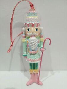 "Christmas Pastel Candy Cupcake Nutcracker Glitter Tree Ornament Pink 5.75"""