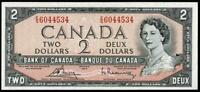 1954 $2 DOLLAR BANKNOTE BANK OF CANADA