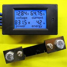 LCD Voltage Current 100A DC 100V Volt Amp Power Meter 12V 24V 48V Battery Solar