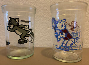 Vintage Welch's Tom And Jerry Collectible Jelly Jar Glass (1990 & 1991) 2 Jars