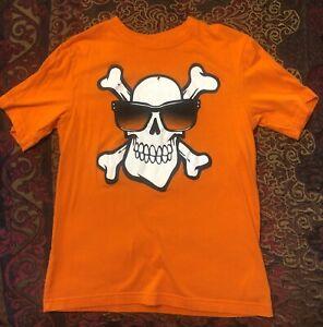 EUC Boys The Children's Place Orange Cool Jolly Roger Shirt Size L (10-12)