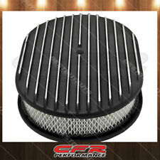 "Chevy Ford Mopar Aluminum 12"" Oval Air Cleaner Paper Filter Polished Finned"