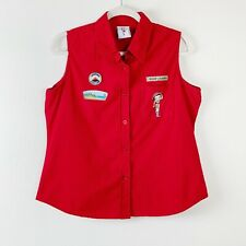 Vintage Betty Boop Scout Camp Shirt Red Top L Troop Leader Embroidered Patches