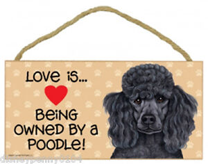 """LOVE is Being Owned by a POODLE-Wooden Plaque 5"""" by 10"""" by 1/4 inch"""