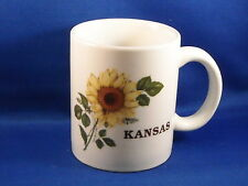 [4] HAND CRAFTED CERAMIC COFFEE CUPS W/ SUNFLOWER AND KANSAS - KANSAS SOUVENIERS