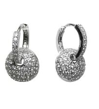 Dainty-Babies-Children Pave Clear CZ Round Charm Hoop Earrings Rhodium Plated