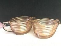 VINTAGE PINK DEPRESSION GLASS MANHATTAN OVAL SET RIBBED CREAMER AND SUGAR BOWL