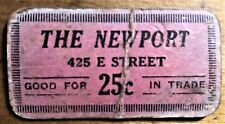 CARDBOARD GOOD FOR 25¢ THE NEWPORT CALIFORNIA NACHANT & ENHOLM DEPRESSION SCRIP
