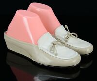 Cole Haan Womens Wedge Mules Size 6B Two Tone Beige/Cream Leather Slip On Flats