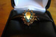 Gold Tone  Aquamarine and Clear  Rhinestones size 7 1/4  LOVELY RING