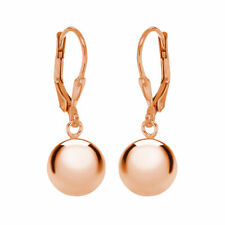 TJC Ball Drop Hoop Earrings for Women in Rose Gold Plated Sterling Silver