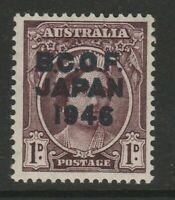 AUSTRALIA-BCOF JAPAN 1946 1d BLUE-BLACK OVERPRINT  (SG J2a) MNH