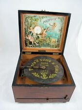 POLYPHON SMALL MUSIC DISC PLAYER, WALNUT CASE C1870'S