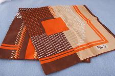 "Paoli Scarf Vintage 26"" Bold Autumn Colors Brown Orange White (L-19 )"