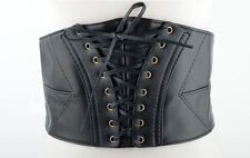 Women's Retro Wide Biker Punk Gothic Leather Corset Waist Adjustable Belt Black