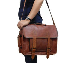 Mens Genuine Vintage Leather Satchel Messenger Work Laptop Files Briefcase Bag