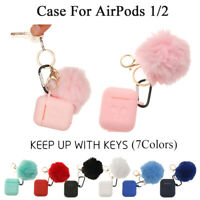 Airpods Silicone Earphone Case Protective Case Cover With Fur Ball Keychain