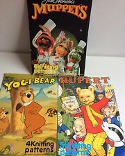 Knitting Patterns Muppets Rupert Yogi Bear Intarsia Gary Kennedy Henson Lot x 3