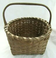 ANTIQUE SPLINT BASKET NEW ENGLAND PATINA COUNTRY PRIMITIVE GATHERING  FRUIT EGG