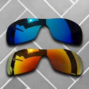 2 Packs Replacement Lenses for-Oakley Antix Sunglass Polarized-Fire Red&Sky Blue