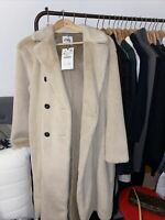 ZARA DOUBLE BREASTED FUR COAT BEIGE SIZE M BNWT SOLD OUT