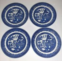 JOHNSON BROTHERS set of four Blue Willow plates 6 in Footed China Porcelain xx