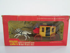 Vintage Timpo Toy Plastic Soldiers - Boxed Wild West Set Wells Fargo Stagecoach
