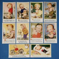 Collection of 10 Vintage Bamforth Comic Tempest Kiddy Series Postcards AL4