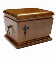 BEAUTIFUL SOLID WOOD CASKET WITH CROSS FUNERAL ASHES URN FOR ADULT HUMAN URN