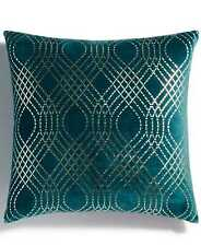 Holiday Lane Diamond Foil Printed Decorative Pillow (Green)