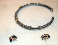 DAVID YURMAN 3 PC SUITE,GOLD &  SILVER NECKLACE & PR EAR CLIPS ,EMERALD  100 GR
