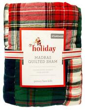 New Pottery Barn Kids Holiday Madras Quilted Standard Sham