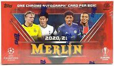 2020-21 TOPPS MERLIN CHROME Champions League Tarjetas Hobby Caja (18 paquetes) 1 Auto