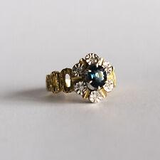Vintage Zafiro Y Diamantes Anillo