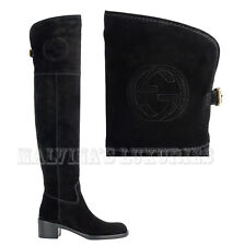 $1,795 GUCCI BOOTS SOHO OVER THE KNEE INTERLOCKING G LOGO sz IT 34.5 / US 4.5