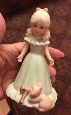 Vintage 1981 Growing Up Birthday Girl Age 7 Blonde Hair Enesco porcelain figure