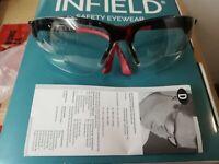 Infield Safety Bügel Schutzbrille Brille Brillen Terminator rot Red Mirror