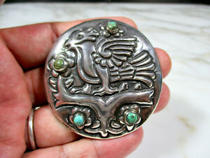 UNIQUE ANTIQUE MEXICO FINE SILVER & TURQUOISE BIRD BROOCH UNKNOWN MAKERS MARK