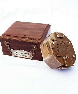 Makers To The Queen London 1920  Brass Antique Brunton Compass With Wooden Box