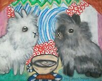 LIONHEAD RABBIT Drinking Coffee Collectible 8 x 10 Signed Outsider Pop Art Print