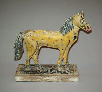 Old Antique Vtg 19th C 1800s Folk Art Tin Horse Figure Full Body Original Paint