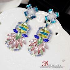 Boucles d`Oreilles ClipS Pendante Longue Art Dec Bleu Argenté Vert Mariage A3