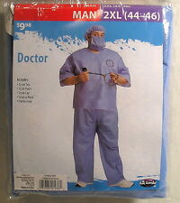 Halloween Costume, Adult 2XL 44/46 Blue Scrubs Doctor Costume, Toy Stethoscope