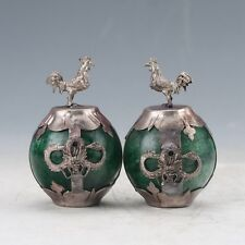 A Pair Collectable Green Jade Armor Tibetan Silver Hand-carve Chicken Statue Z92