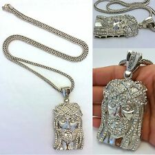 """MENS HIP HOP ICED OUT SILVER  JESUS PENDANT WITH 4MM 36"""" FRANCO CHAIN NECKLACE"""