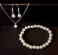 Pearl White Gold Plated Necklace & Earrings & Bracelet Set Wedding Jewellery