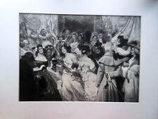 "Antique Original Print 1892 Engraving by J. Rolshoven ""La commedia"" Human Comedy"