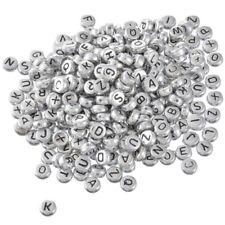 500 Neu Silbergrau Flach Buchstaben Acryl Spacer Perlen Beads 7mm hello-jewelry